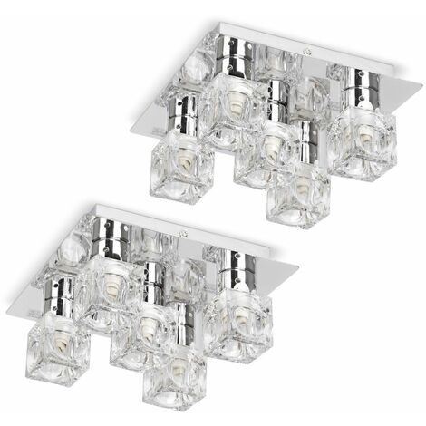 Flush Ceiling Light Pair Of Chrome Glass Ice Cube 5 Way Fittings - Silver