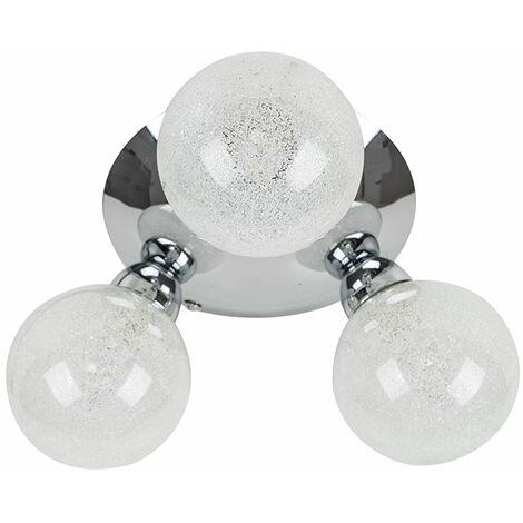 Flush LED Ceiling Light 3 Way Chrome Finish Frosted Glass Shades
