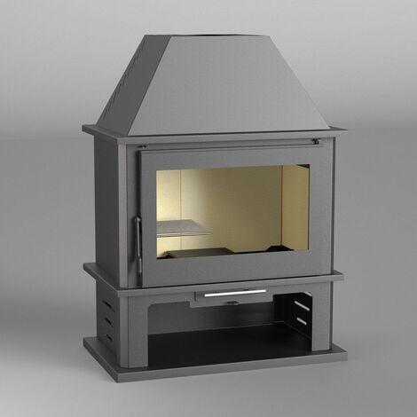 FM Poêle à bois acier M-108 12,5kW avec porte en fonte