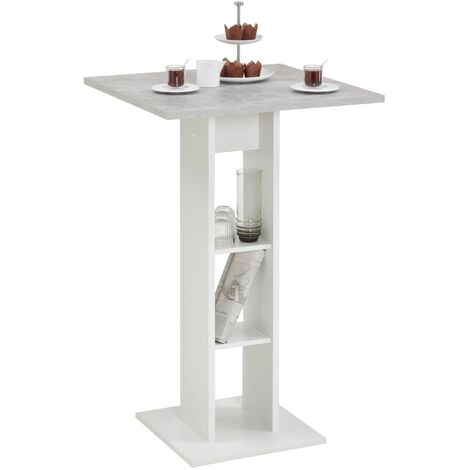 FMD Bar Table Concrete Grey and White