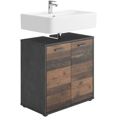 """main image of """"FMD Bathroom Sink Cabinet with 2 Doors Matera Old Style Dark - Multicolour"""""""