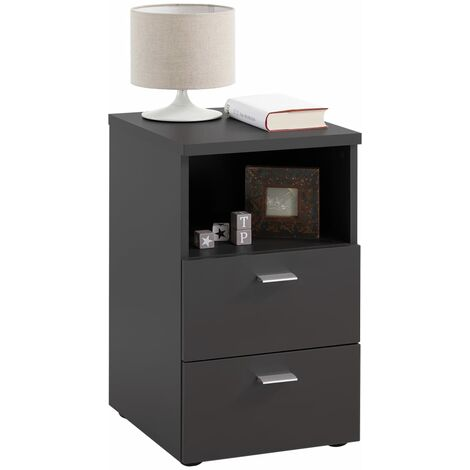 FMD Bedside Cabinet with 2 Drawers and Open Shelf Black - Black