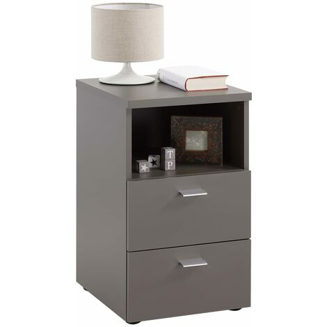 FMD Bedside Cabinet with 2 Drawers and Open Shelf Lava Grey - Grey