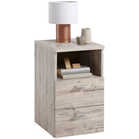 FMD Bedside Cabinet with 2 Drawers and Open Shelf Sand Oak - Beige