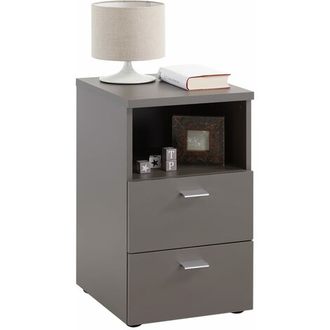FMD Bedside Cabinet with 2 Drawers and Open Shelf White - White
