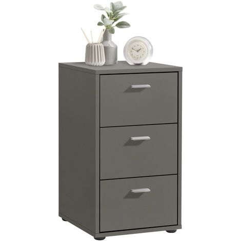 FMD Bedside Cabinet with 3 Drawers Lava Grey - Grey