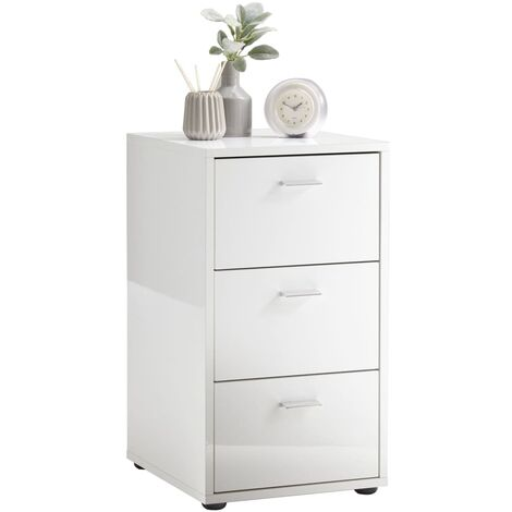 FMD Bedside Table with 3 Drawers High Gloss White - White