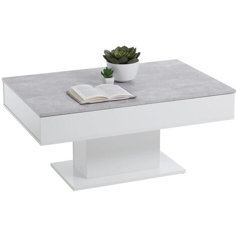 FMD Coffee Table Concrete Grey and White - Grey