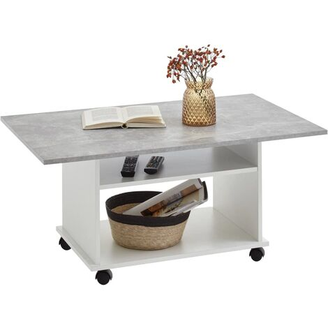 FMD Coffee Table with Castors Concrete Grey and White