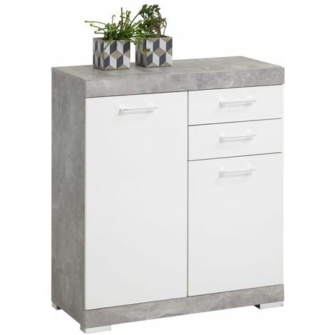 FMD Dresser with 2 Doors & 2 Drawers 80x34.9x89.9cm Concrete and White - Grey