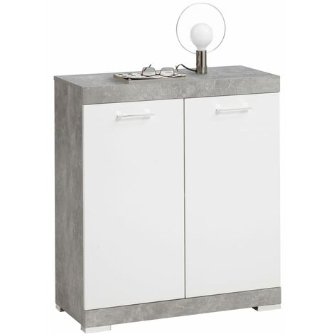 FMD Dresser with 2 Doors 80x34.9x89.9 cm White and Concrete - Beige