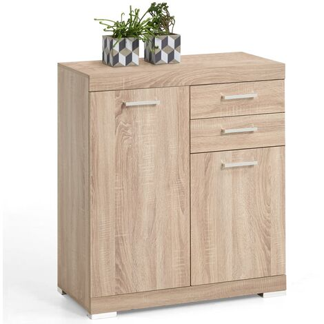FMD Dresser with 2 Doors and 2 Drawers 80x34.9x89.9 cm Oak - Beige
