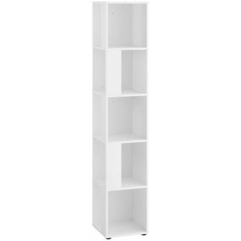 FMD Estantería de esquina con 10 compartimentos laterales blanco - Blanco
