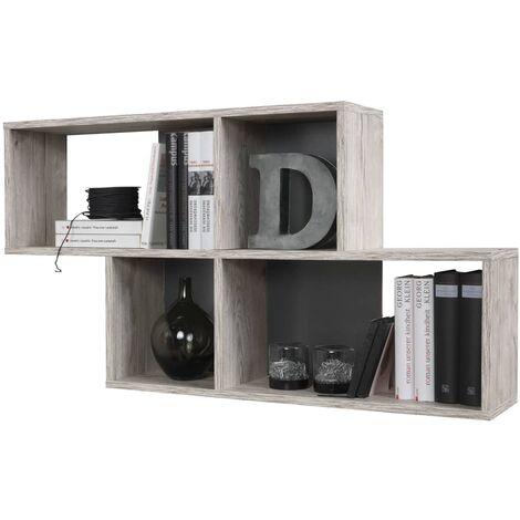 FMD Estantería de pared con 4 compartimentos color roble arena