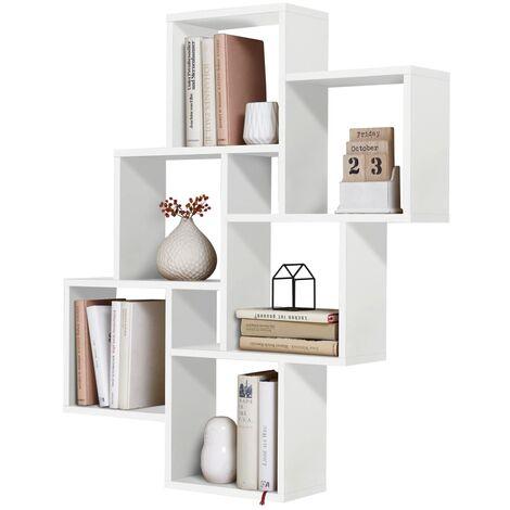FMD Estantería de pared con 8 compartimentos blanca