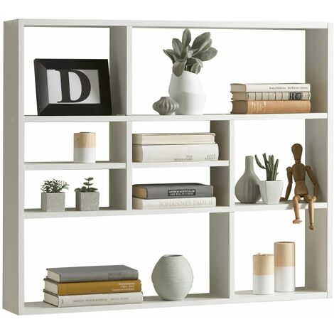 FMD Estantería de pared con 9 compartimentos blanco