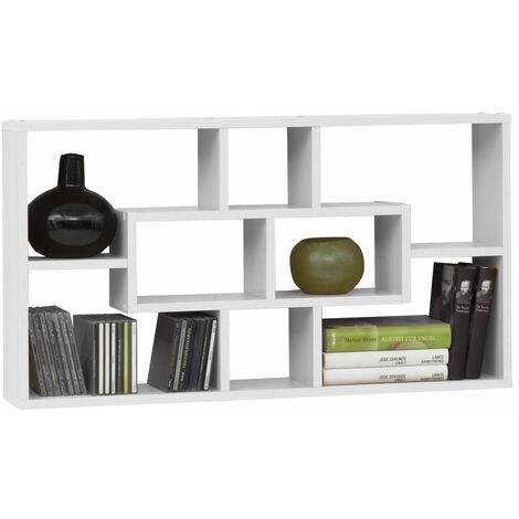 FMD Estantería de pared rectangular con 8 compartimentos blanca