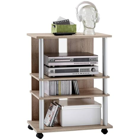FMD Estantería de TV/equipo música 3 compartimentos roble 65x40x79,2cm