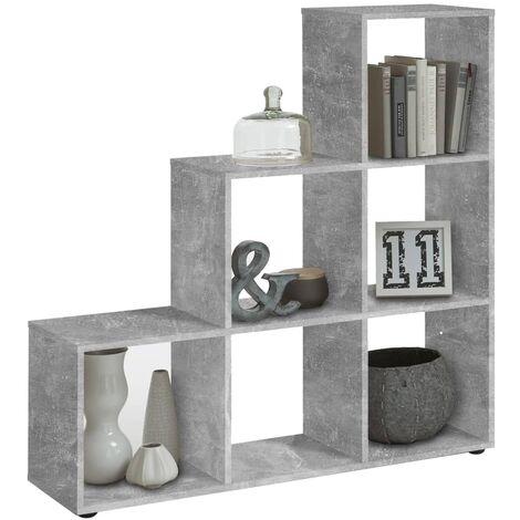 FMD Estantería/divisor de espacios con 6 compartimentos gris hormigón