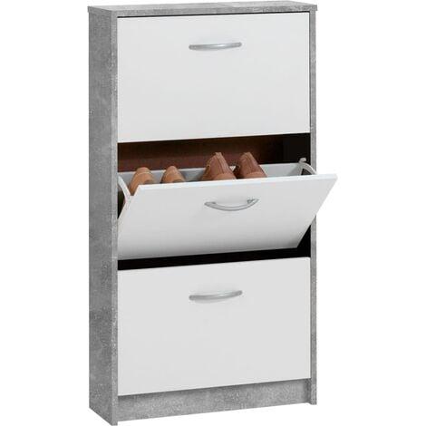 FMD Mueble zapatero con 3 compartimentos basculantes blanco y hormigón