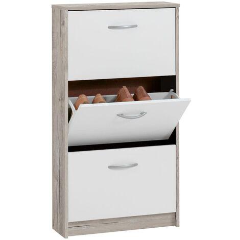 FMD Mueble zapatero con 3 compartimentos basculantes blanco y roble