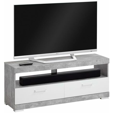 FMD TV/Hi-Fi Stand Concrete Grey and Glossy White