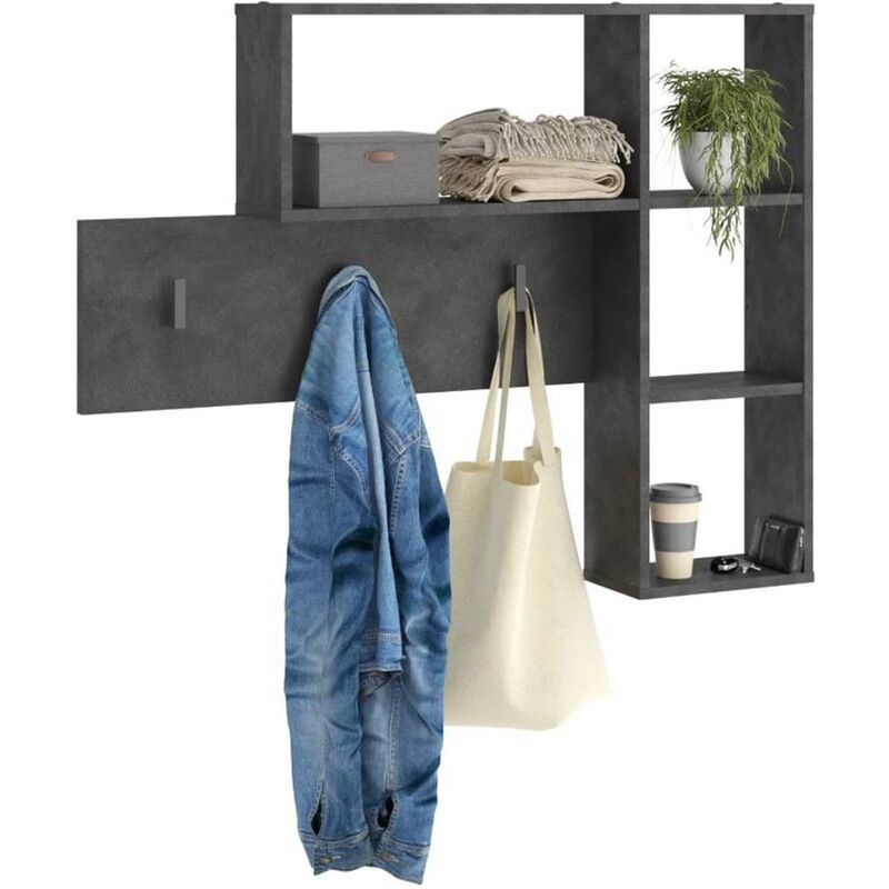 Image of Wall-mounted Coat Rack 4 Open Compartments Anthracite - Anthracite - FMD