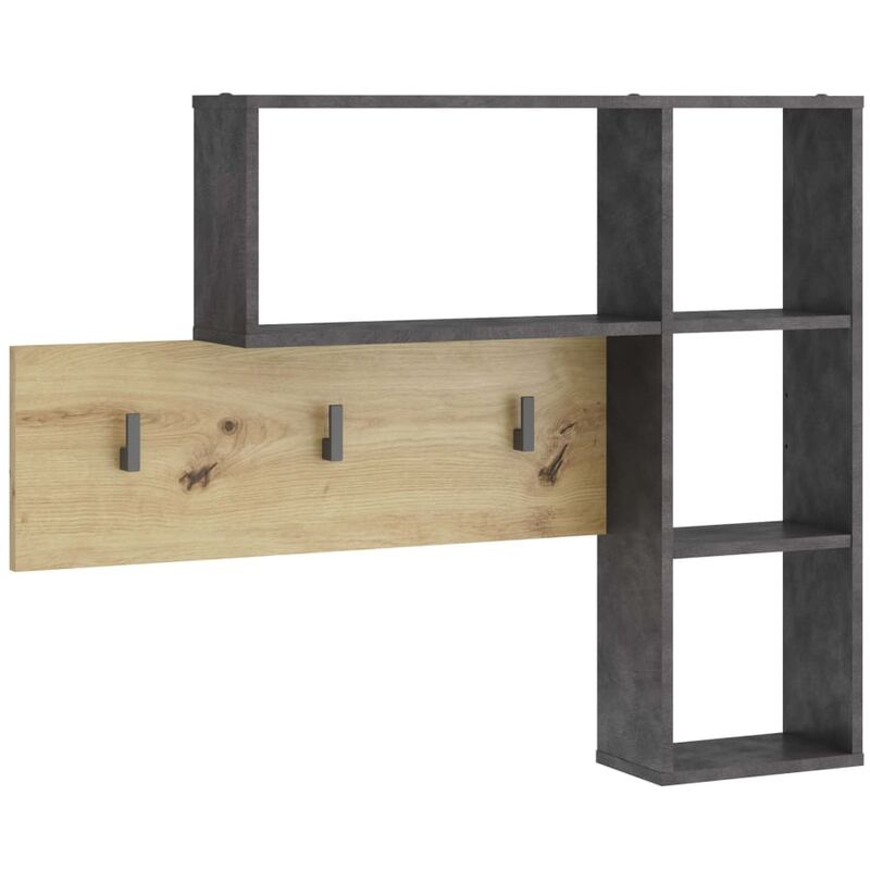 Image of Wall-mounted Coat Rack 4 Open Compartments Anthracite and Oak - Anthracite - FMD