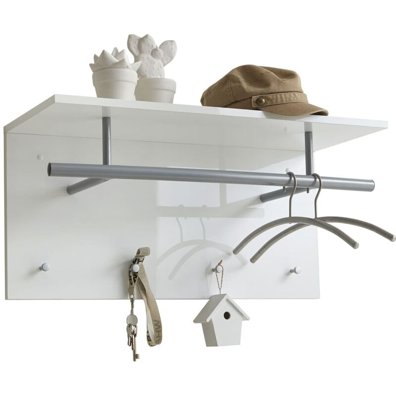 Image of Wall-mounted Coat Rack 72x29.3x34.5 cm White - White - FMD
