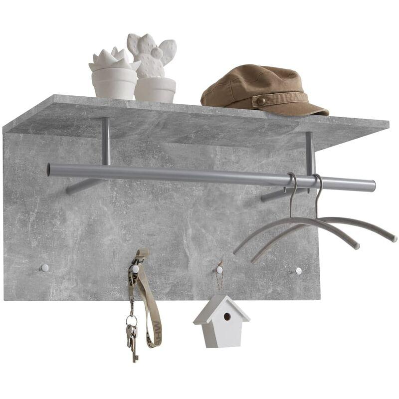 Image of Wall-mounted Coat Rack 72x29.3x34.5cm Concrete Grey - Grey - FMD