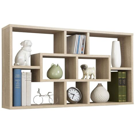 FMD Wall-mounted Shelf Rectangular with 8 Compartments Oak Tree