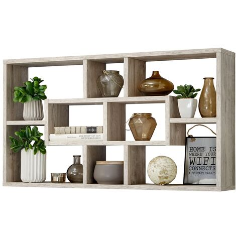 FMD Wall-mounted Shelf Rectangular with 8 Compartments Sand Oak