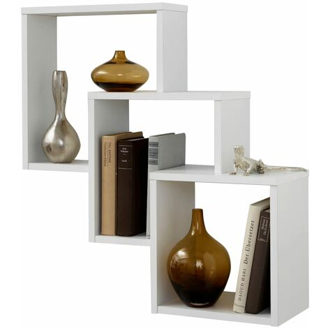 FMD Wall-mounted Shelf with 3 Compartments White
