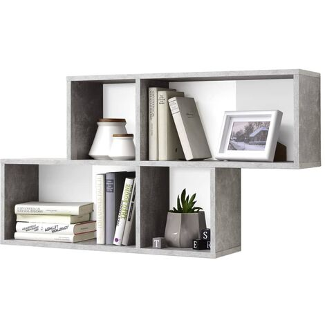 FMD Wall-mounted Shelf with 4 Compartments Concrete and White