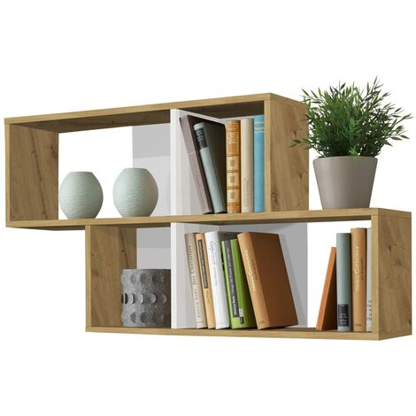"""main image of """"FMD Wall-mounted Shelf with 4 Compartments Antique Oak and Glossy White - Brown"""""""