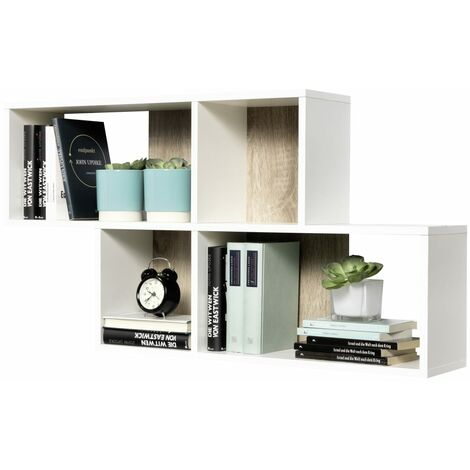FMD Wall-mounted Shelf with 4 Compartments White
