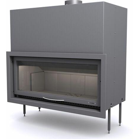 FOCGRUP Foyer de cheminée BV120 16,5kW 120cm guillotine et cadre finition inox