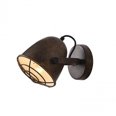 Foco 1 luz E27 estilo foco de cine color marrón rústico y interior blanco