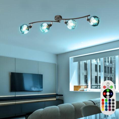 Foco barra de luz de techo regulable lámpara de cristal control remoto ajustable en un juego que incluye bombillas LED RGB