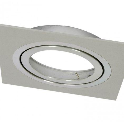 Foco cuadrado GD 1 Luz Aluminio cepillado Empotrable AR111