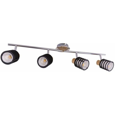 Foco de barra de foco de techo lámpara de vidrio cromado lámpara de iluminación de sala de estar de madera ajustable Globo 54816-4