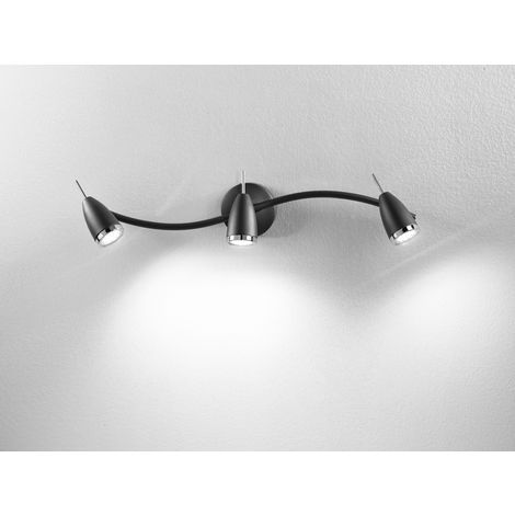 Foco de luz LED 3 Luces de metal negro cm 0 PERENZ 6148 N