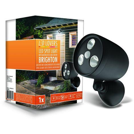 Foco de Luz LED Con Sensor de Movimiento, color Negro, 120 x 98 x 178 mm