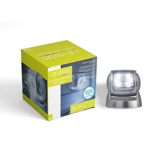 Foco de Luz LED Giratorio con Sensor de Movimiento, color Gris