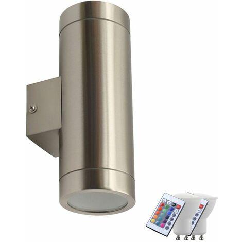 Foco de pared exterior dimmer up down light control remoto en un set que incluye lámparas LED RGB