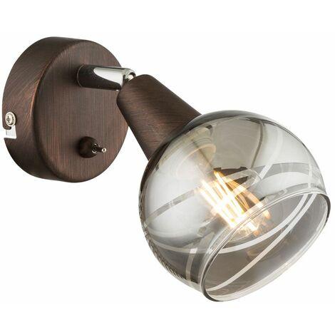 Foco de pared LED giratorio salón comedor iluminación lámpara de punto de vidrio bronce humo Globo 54347-1
