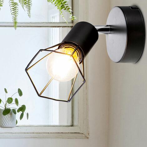 Foco de pared retro con filamento trenzado negro lámpara de luz ajustable en un juego que incluye bombillas LED