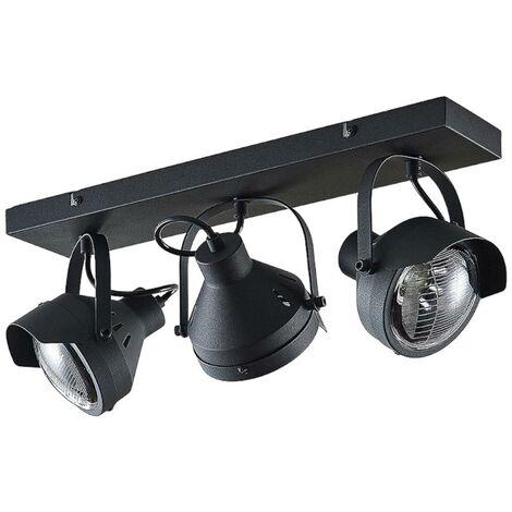 Foco de techo Henega, negro, 3 brazos