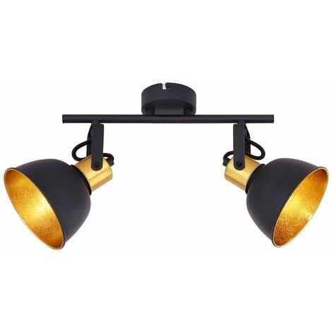 Foco de techo Lámpara Sueño Habitación de huéspedes Luz de foco ORO NEGRO Móvil  Globo 54655-2