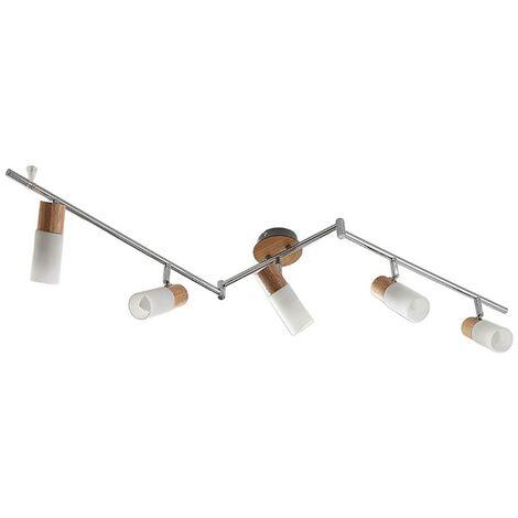 Foco de techo LED de madera Christoph, 5 bombillas